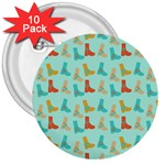 Blue Orange Boots 3  Buttons (10 pack)  Front