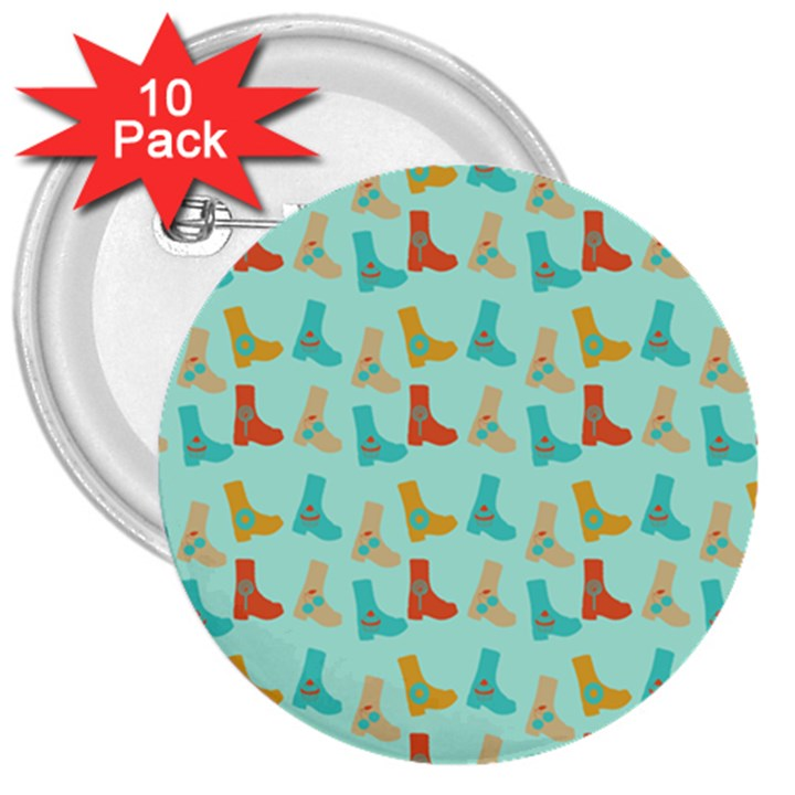 Blue Orange Boots 3  Buttons (10 pack)