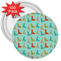 Blue Orange Boots 3  Buttons (100 Pack)