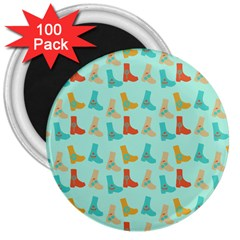 Blue Orange Boots 3  Magnets (100 Pack)