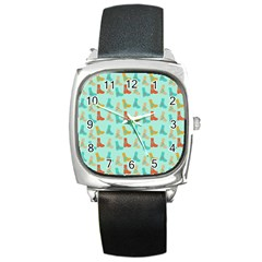 Blue Orange Boots Square Metal Watch