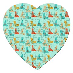 Blue Orange Boots Jigsaw Puzzle (heart)