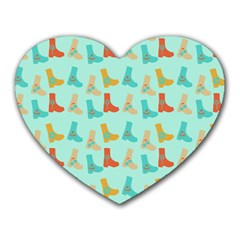 Blue Orange Boots Heart Mousepads by snowwhitegirl