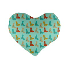 Blue Orange Boots Standard 16  Premium Heart Shape Cushions by snowwhitegirl
