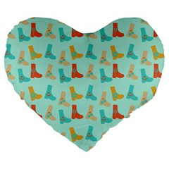 Blue Orange Boots Large 19  Premium Heart Shape Cushions
