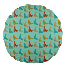 Blue Orange Boots Large 18  Premium Flano Round Cushions by snowwhitegirl