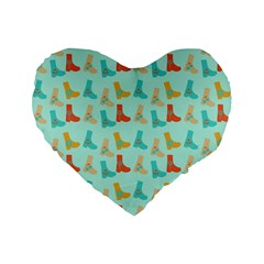 Blue Orange Boots Standard 16  Premium Flano Heart Shape Cushions