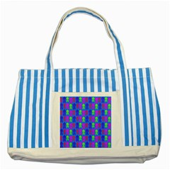Neon Robot Striped Blue Tote Bag