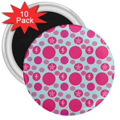 Blue Retro Dots 3  Magnets (10 Pack)