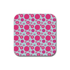 Blue Retro Dots Rubber Coaster (square)