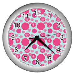 Blue Retro Dots Wall Clocks (silver)