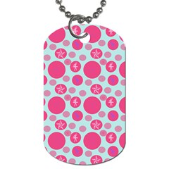 Blue Retro Dots Dog Tag (one Side)