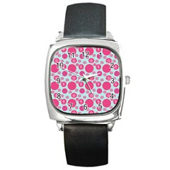 Blue Retro Dots Square Metal Watch