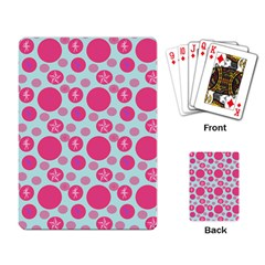 Blue Retro Dots Playing Card