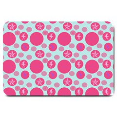 Blue Retro Dots Large Doormat