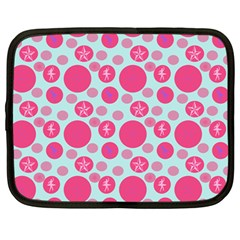 Blue Retro Dots Netbook Case (large)