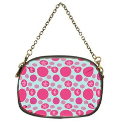 Blue Retro Dots Chain Purses (one Side)