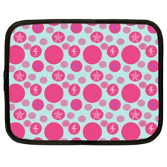 Blue Retro Dots Netbook Case (xl)