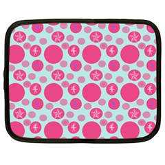 Blue Retro Dots Netbook Case (xxl)  by snowwhitegirl