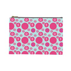 Blue Retro Dots Cosmetic Bag (large)