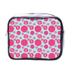 Blue Retro Dots Mini Toiletries Bags