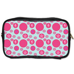 Blue Retro Dots Toiletries Bags