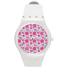 Blue Retro Dots Round Plastic Sport Watch (m)