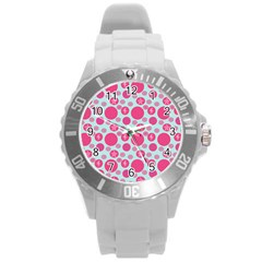 Blue Retro Dots Round Plastic Sport Watch (l)