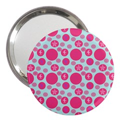 Blue Retro Dots 3  Handbag Mirrors