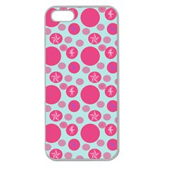 Blue Retro Dots Apple Seamless Iphone 5 Case (clear)