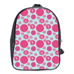 Blue Retro Dots School Bag (xl)