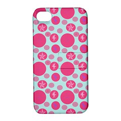 Blue Retro Dots Apple Iphone 4/4s Hardshell Case With Stand by snowwhitegirl