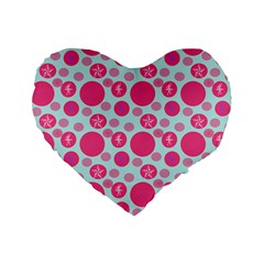 Blue Retro Dots Standard 16  Premium Flano Heart Shape Cushions by snowwhitegirl