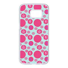 Blue Retro Dots Samsung Galaxy S7 Edge White Seamless Case