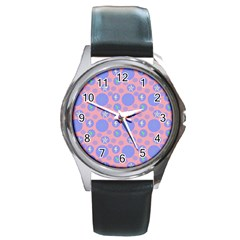 Pink Retro Dots Round Metal Watch