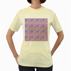 Pink Retro Dots Women s Yellow T-shirt