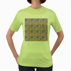 Pink Retro Dots Women s Green T-shirt