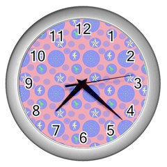 Pink Retro Dots Wall Clocks (silver)