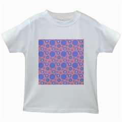 Pink Retro Dots Kids White T-shirts