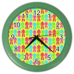 Colorful Robots Color Wall Clocks