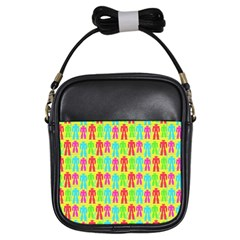 Colorful Robots Girls Sling Bags