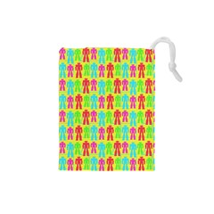 Colorful Robots Drawstring Pouches (small)  by snowwhitegirl