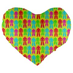 Colorful Robots Large 19  Premium Flano Heart Shape Cushions