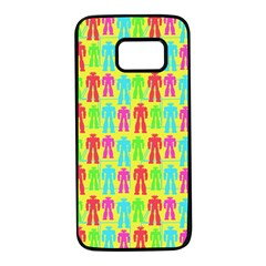 Colorful Robots Samsung Galaxy S7 Black Seamless Case