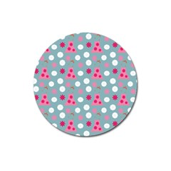 Pink Dress Blue Magnet 3  (round)