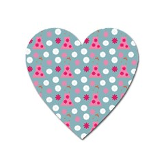 Pink Dress Blue Heart Magnet