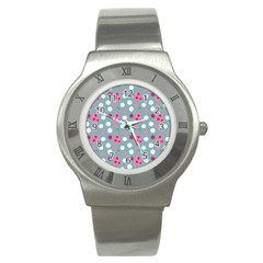 Pink Dress Blue Stainless Steel Watch