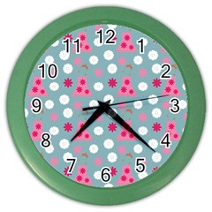 Pink Dress Blue Color Wall Clocks