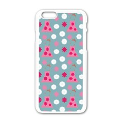 Pink Dress Blue Apple Iphone 6/6s White Enamel Case by snowwhitegirl