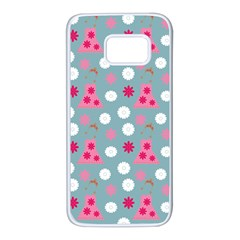 Pink Dress Blue Samsung Galaxy S7 White Seamless Case
